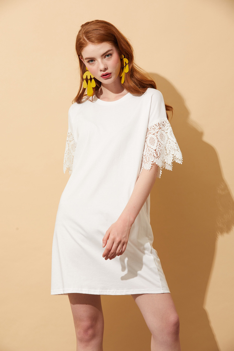 AHIN SLEEVE LACE T-SHIRT DRESS [YLD-DR-A125]