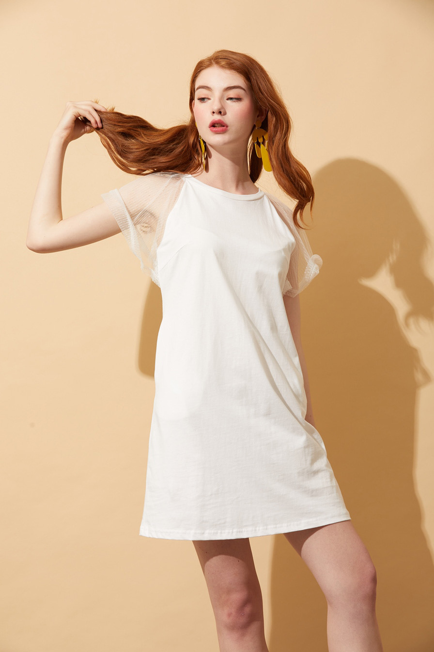 AHIN LACE SHOURDER T-SHIRT DRESS [YLD-DR-A110]