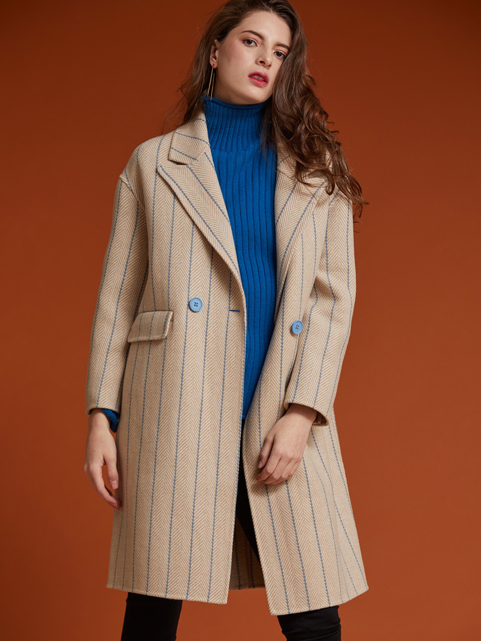 AHIN STRIPED HERRINGBONE COAT [HB-CO-501]