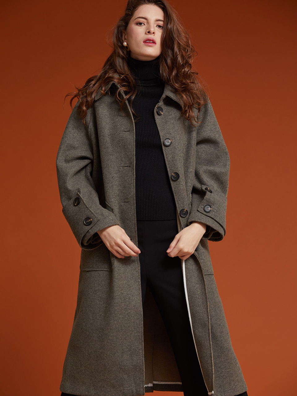 AHIN CUFFS BUTTON LONG COAT [HB-CO-502]