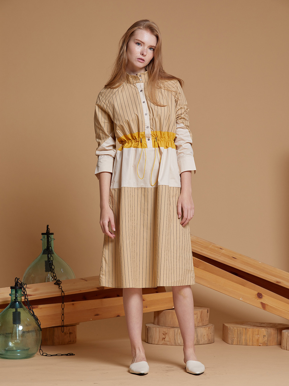 AHIN STRING WAIST STRIPE DRESS [BEIGE][SS-DR-693-A]