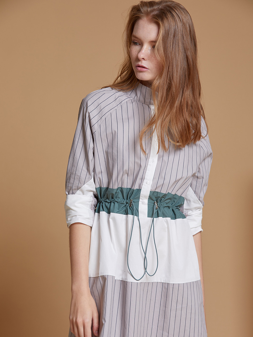 AHIN STRING WAIST STRIPE DRESS [GRAY][SS-DR-693-A]