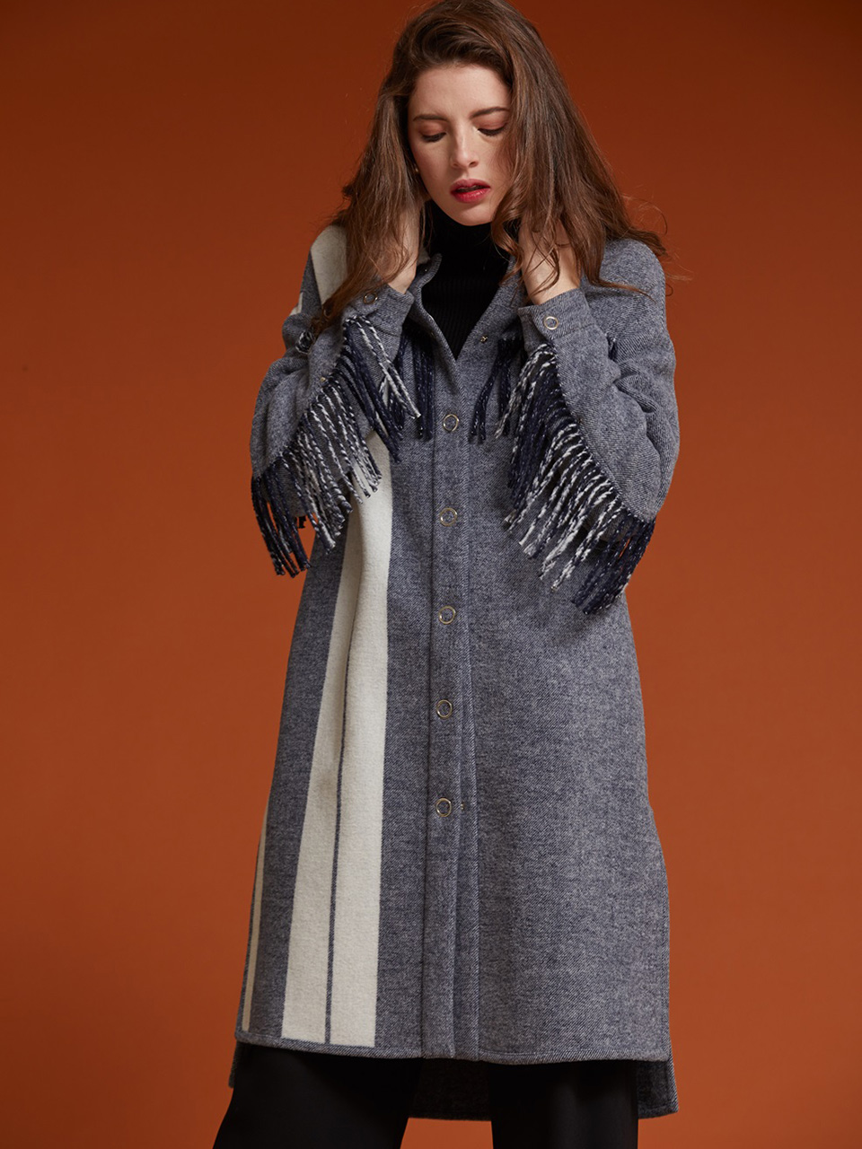 AHIN FRINGE LINE LONG COAT [AR-CO-001]