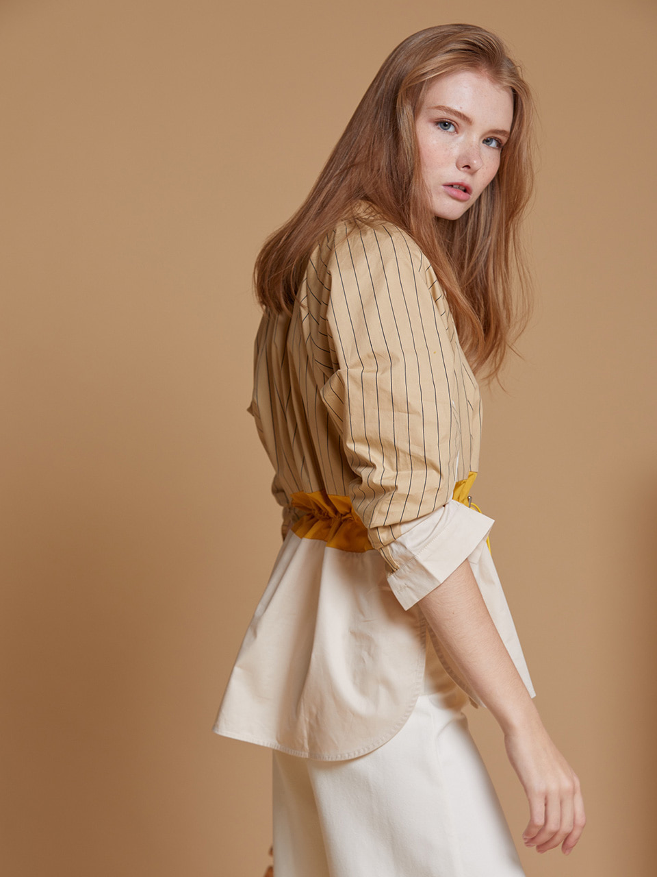 AHIN STRING WAIST STRIPE SHORT DRESS [BEIGE][SS-SH-415-A]